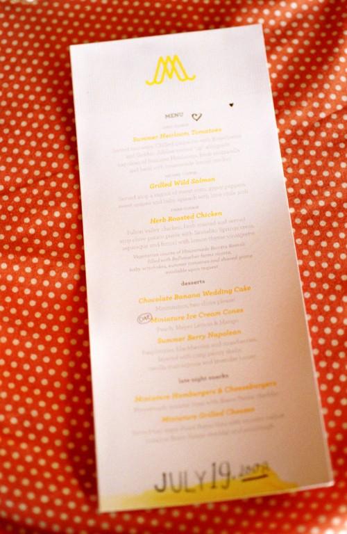 hand-lettered yellow gray wedding menu