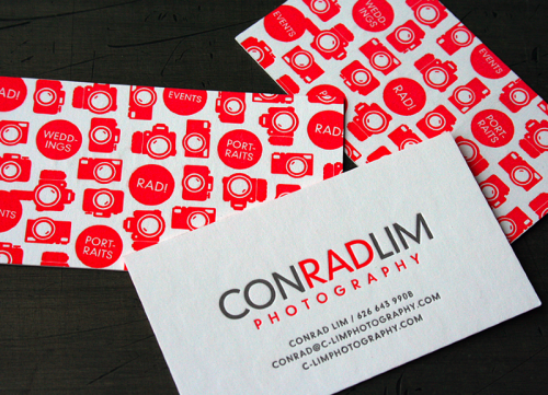 red letterpress photographer double-sided business card