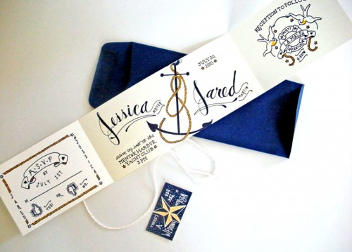 Sailor Tattoo Wedding Invitations