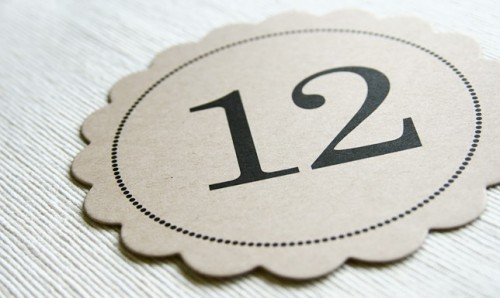 scallop kraft paper wedding table number signs