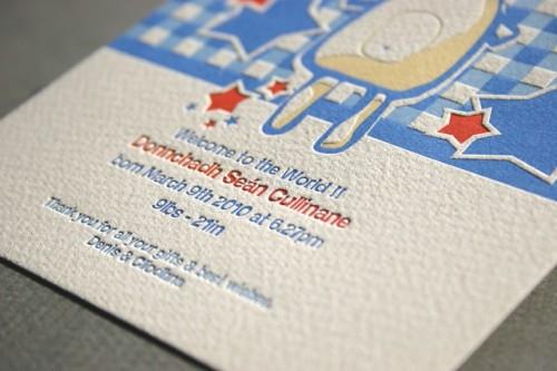 teddy bear letterpress baby announcement