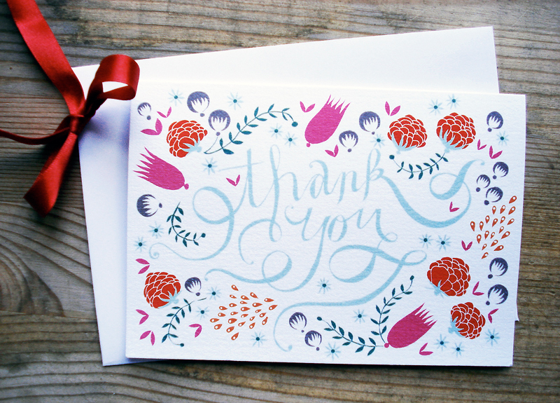 Beautiful Thank You Cards a hand-lettered thank you