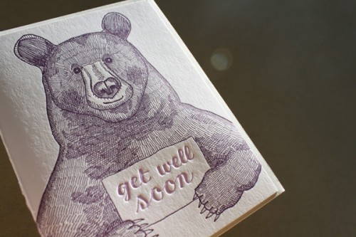letterpress get well card