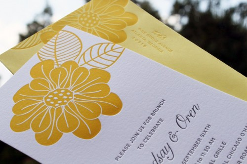 yellow sunflower wedding day after brunch invitation 500x332 Wedding Day After Brunch Invitations