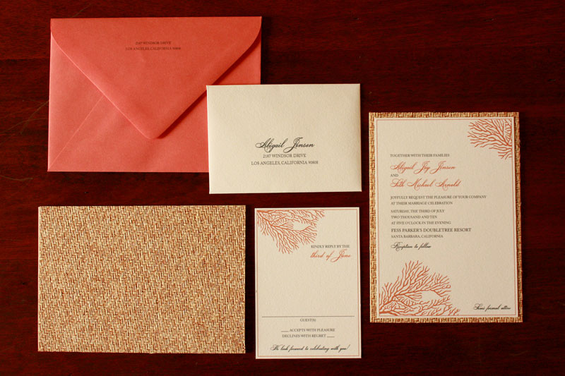 First up this lovely invitation suite inspired by beautiful coral reefs