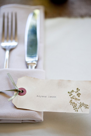 woodland wedding botanicals place cards3 Alyson + Levis Vintage Botanical Wedding Invitations