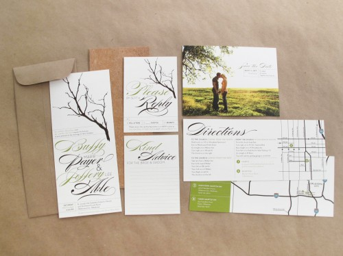 Branch Twine Wedding Invitations 500x374