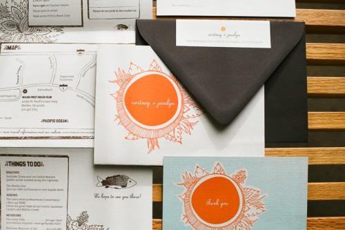orange blue beach sun hand drawn wedding invitations