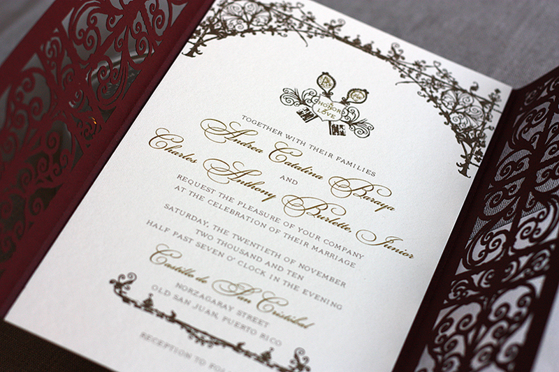 spanish style laser cut invitations, Wedding invitations