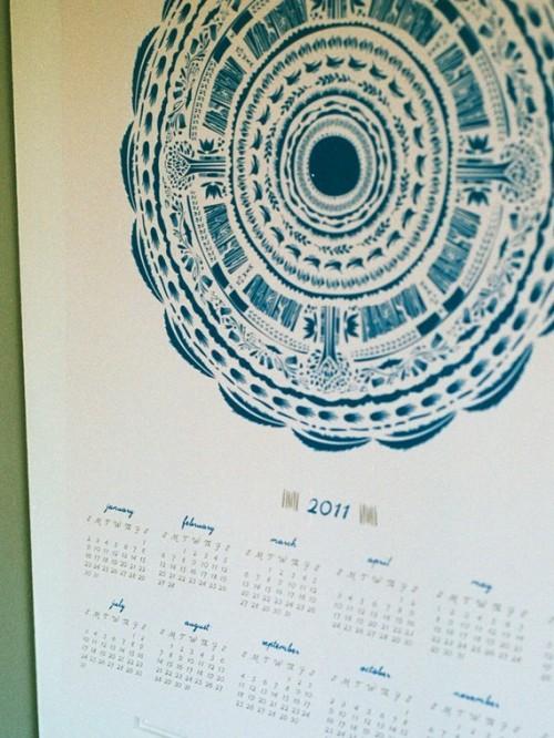 screen printed illustrated calendar