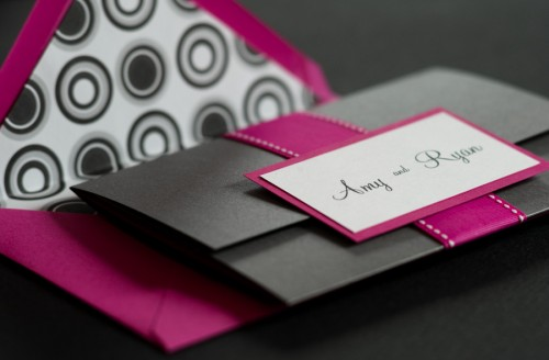 Pink Black Ampersand Wedding Invitations Envelope 500x328 Amy and Ryans Ampersand Wedding Invitations