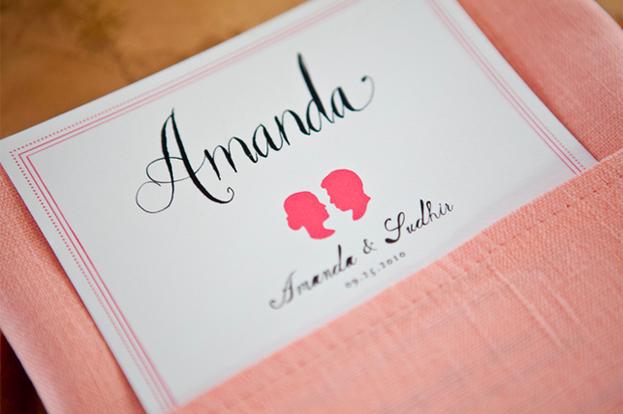 Christinas Blog Mr Boddington Studio Calligraphy Silhouettes 500x332 Pink Silhouette Wedding