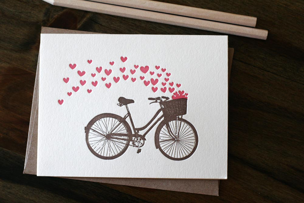 papersheep bicycle valentine card