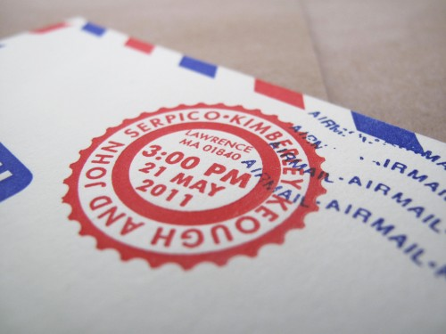 airmail foreign travel inspired wedding invitation 500x375 Kim + Johns Letterpress Airmail Wedding Invitations