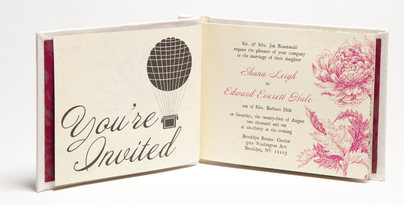 shana + edward's hardcover book wedding invitations,