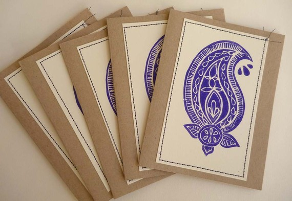 Hand Block Printed Note Cards