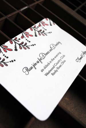 Red Black Floral New Years Eve Letterpress Wedding Invitation Reception Card 300x448 Kristen + Ryan's Red and Black New Year's Eve Wedding Invitations
