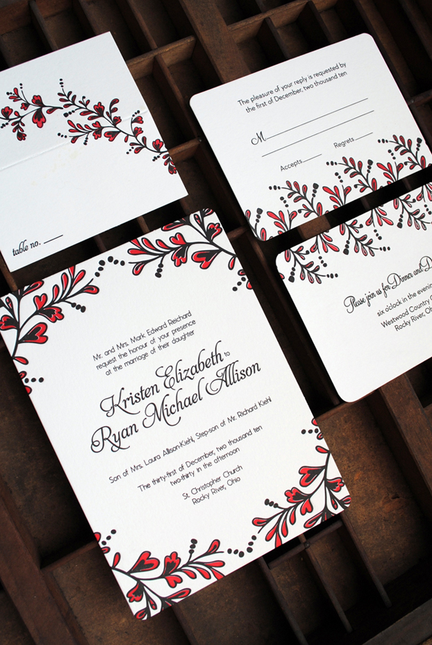kristen ryan s red and black new year s eve wedding invitations
