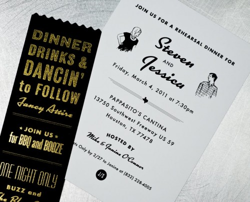 Black White Gold Retro Wedding Rehearsal Dinner Invitations1 500x405 Jessica + Stevens Retro Black and White Wedding Invitations
