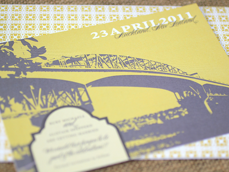 Ruby + Alistair\'s New Zealand Waterfront Wedding Invitations