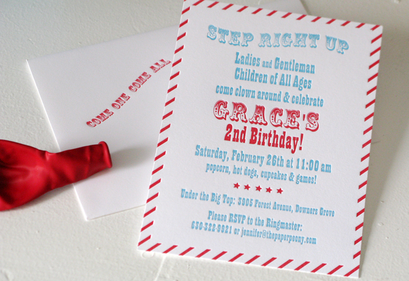 Red Aqua Carnival Birthday Party Invitations For Grace
