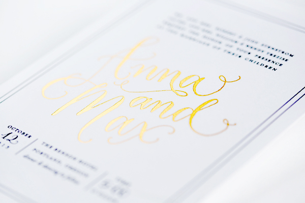 The Printing Process: Foil Stamping / Elegant Gold Foil Wedding Invitations by Paper Bloom / Oh So Beautiful Paper