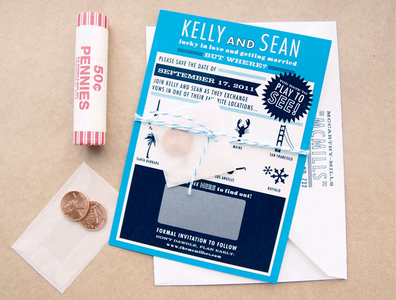 Kelly + Sean's Scratch-Off Surprise Wedding Save the Dates