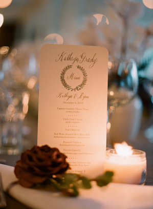 Winter Wedding Details Silver Wreath Menu Kathryn + Ryans Timeless Winter Wedding Invitations