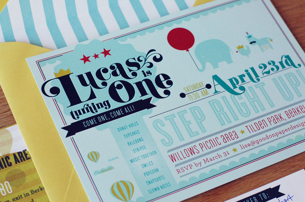 First Birthday Party Invitations for Baby Lucas!