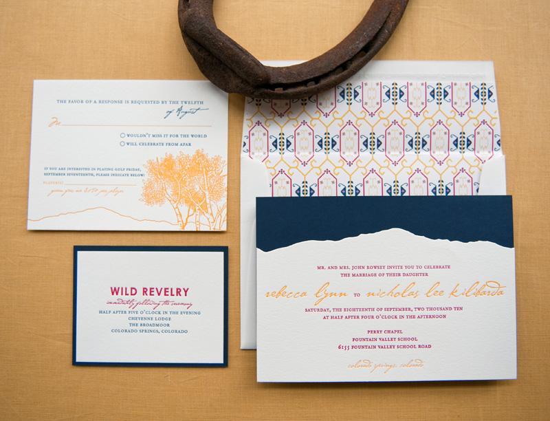 Rebecca + Nick\'s Rocky Mountain Colorado Wedding Invitations