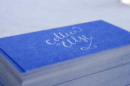 Blue Calligraphy Letterpress Business Cards 550x366 Business Card Ideas and Inspiration #8
