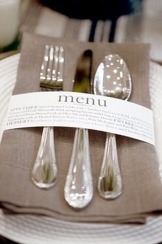 This Napkin Wrap Menu (left) Is So Creative And Modern! Design By Wiley  Valentine, Photo By Aaron Delesie Via Gina DeDominici. And These Tiny Art  Easels Are ...