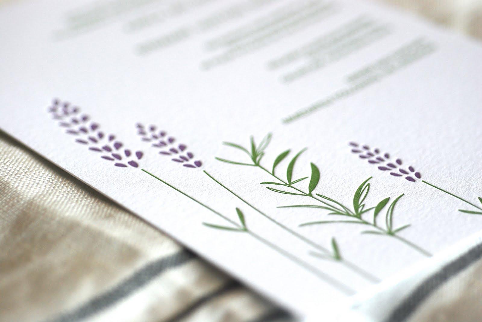 rosemary lavender letterpress wedding invitations