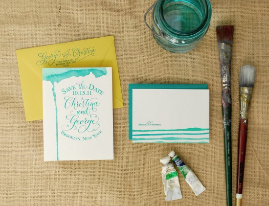 WC final2 550x421 DIY Tutorial: Hand Watercolored Save the Dates + Thank You Cards