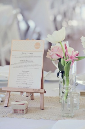 Wedding Menu Stand idea 300x451 Wedding Details: Creative Menu Ideas