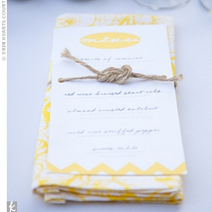 Yellow and Twine Wedding Menu Idea Wedding Details: Creative Menu Ideas