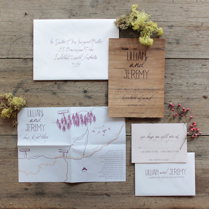 Earthy Wood and Floral Wedding Invitation from Akimbo – Wood Invitations Wedding