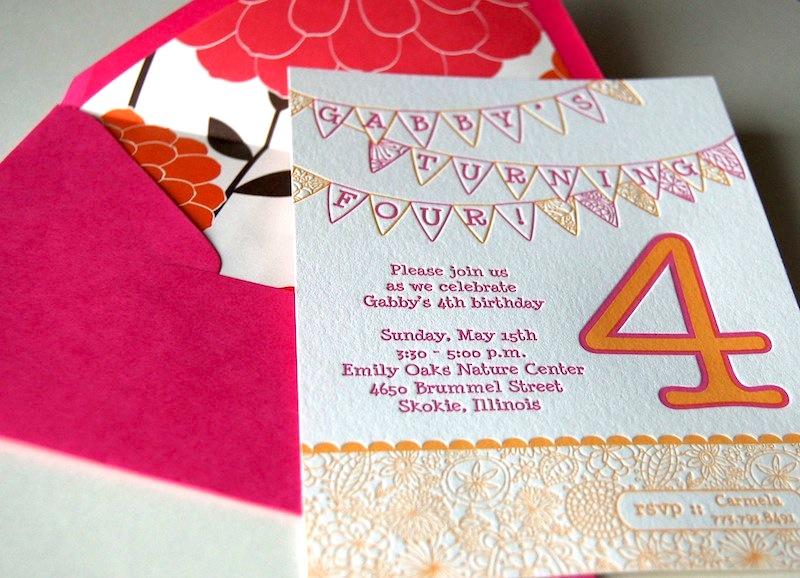 Gabbys whimsical pink orange 4th birthday party invitations pink orange letterpress fourth birthday party invitation envelope filmwisefo