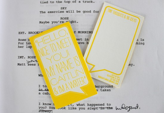Yellow Letterpress Business Cards 550x379 Pretty Yellow Business Cards for a Writer