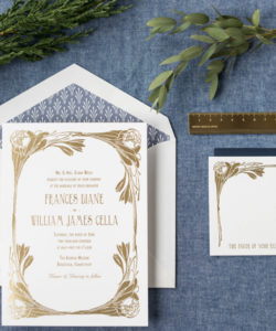 gold foil art nouveau wedding invitations