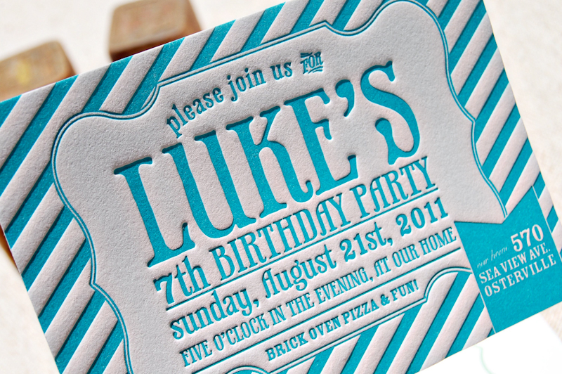 Blue Letterpress Striped Birthday Party Invitations