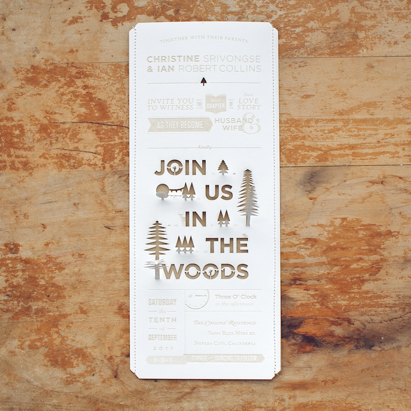 DIY Woodland Cutout Wedding Invitation2 550x550 Christine Ians Woodland