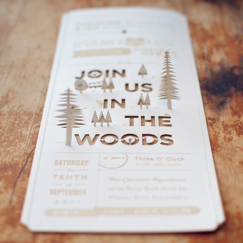 Christine + Ian's DIY Lasercut Woodland Wedding Invitations