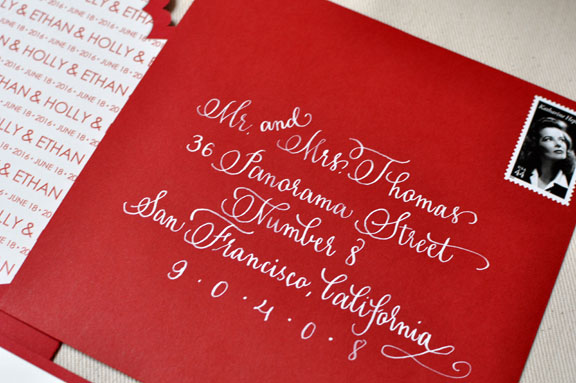 Red And White Modern Letterpress Wedding Invitations
