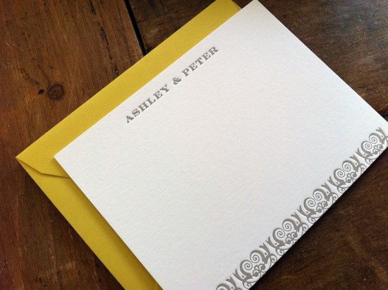 Yellow-Gray-Patterned-Letterpress-Wedding-Invitations-Thank-You-Cards