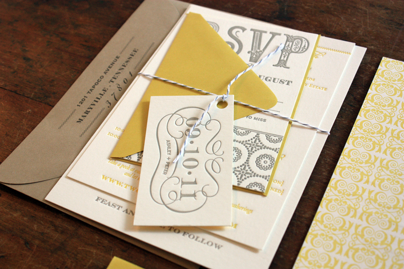 Ashley peters yellow and gray patterned letterpress wedding yellow gray patterned letterpress wedding invitations twine junglespirit