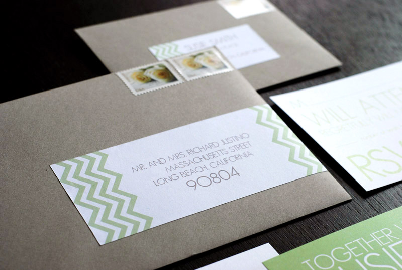 Chevron Wedding Labels