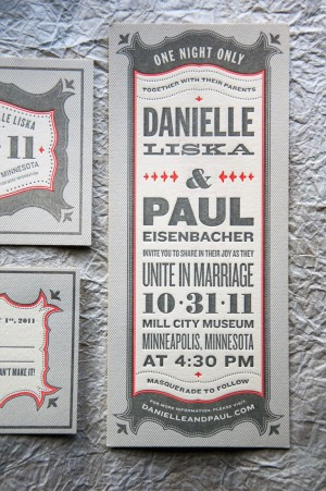 Wit Delight Gray Red Halloween Letterpress Wedding Invitations 300x451 Danielle + Pauls Vintage Inspired Marquee Halloween Wedding Invitations