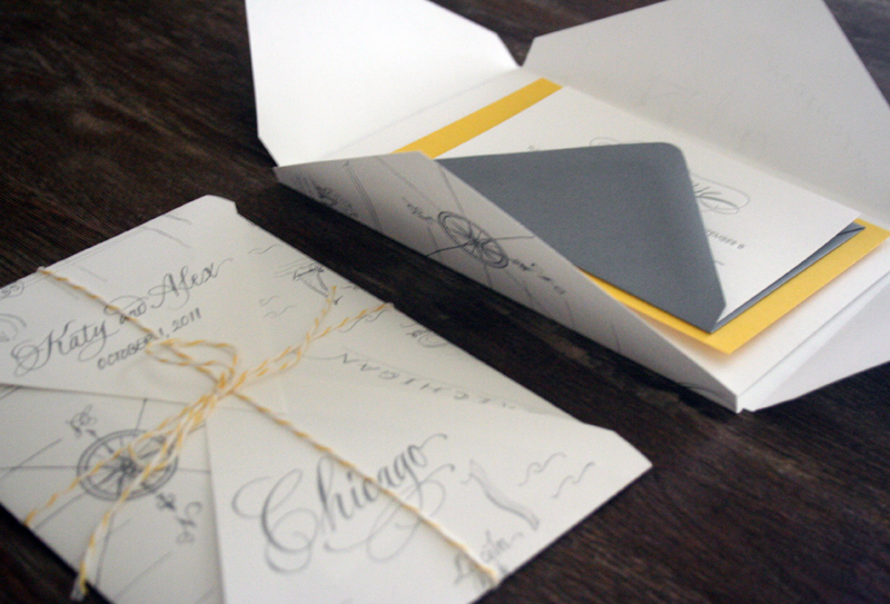 Katie Alexs Elegant Chicago Map Wedding Invitations