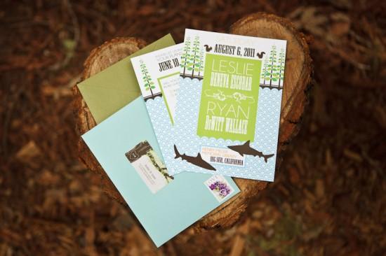Big Sur Modern Woodland Wedding Invitations 550x366 Leslie + Ryans Modern Woodland Big Sur Wedding Invitations